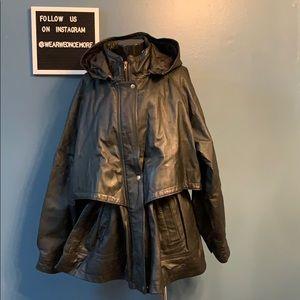 Vintage Leather Drawstring Jacket